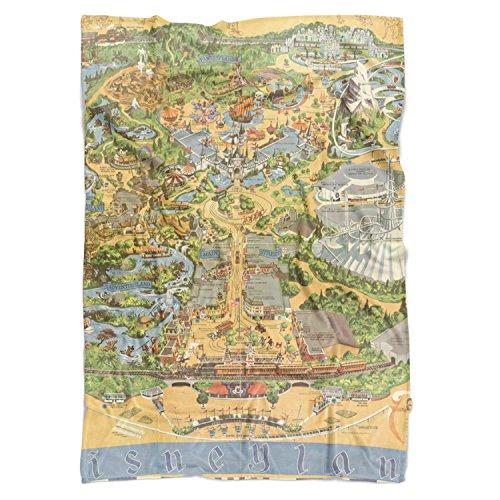 Disneyland Vintage Map Fleece Deken - Soft Faux Bont Gooi