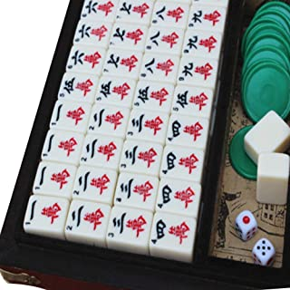 JUIANG Mahjong, Mahjong Tiles, Mahjong Sets, Leather Case Antique Travel Mahjong, Traditional Chess and Card Games That are Easy to Carry, Use Strategy Games with Home Entertainment