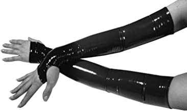 Gothic Armstulpen in Lack-Optik Pulswärmer Fingerlose Handschuhe Damen Schwarz
