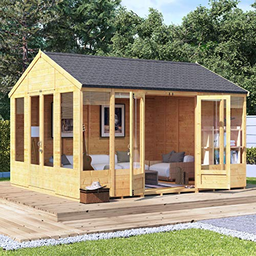 BillyOh Tessa Tongue and Groove Reverse Apex Summerhouse | Dual Entrance Summerhouse | Includes Floor, Roof and Felt (Spray Treated, 12x10)
