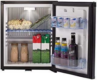 SMETA Mini Fridge No Noise: Absorption Refrigerator 12V/110V Portable for Dorm Office Truck Camper,with Lock,DC AC,1.0 cu ft,Black