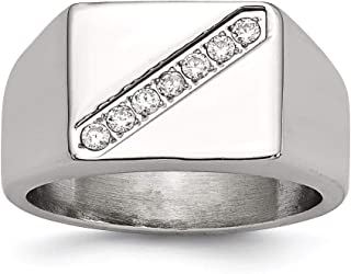 Lex & Lu Chisel Stainless Steel Polished Men's CZ Ring