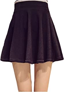 fanmeili-AU Women's Casual High Waist A Line Pleated Flared Skater Mini Skirt