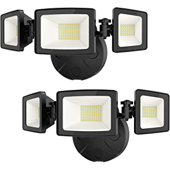 Onforu 2 Pack 50W LED Security Light, 5000LM Super Bright Outdoor Flood Light Fixture with 3 Adjustable Heads, IP65 Waterproof, 5000K White Wall Mount Security Light for Eave, Exterior Garden, Porch
