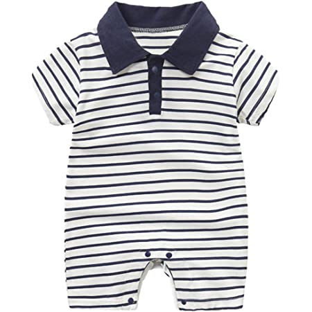Bebé Niño Mono Polo de Manga Corta Body de Algodón Mameluco de Rayas Peleles de Verano Pijama, 9-12 Meses