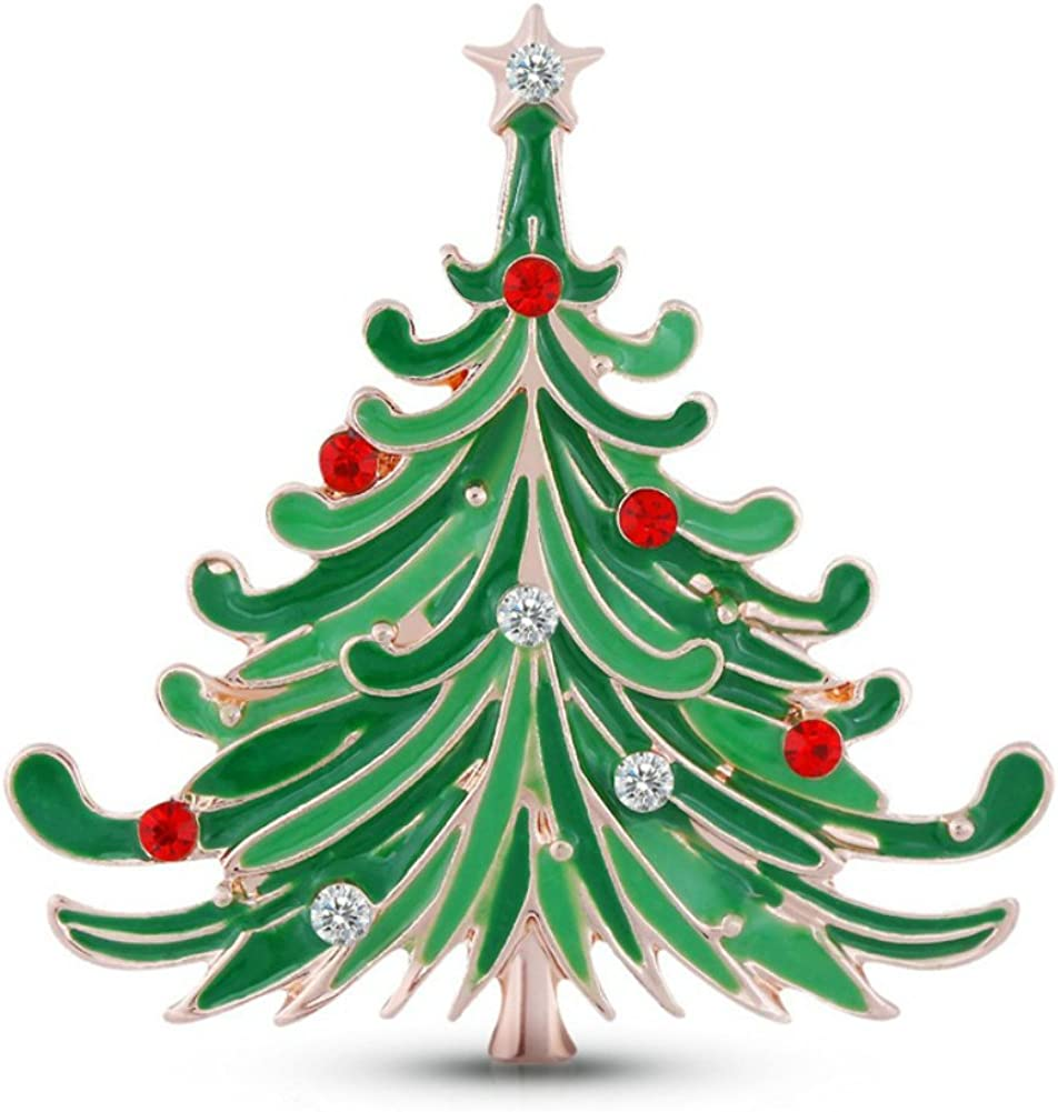 Gloria Trend Stunning Bling Crystal Rhinestone Christmas Tree Pin Brooch