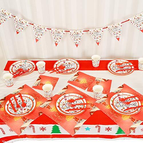 REYOK Christmas Stoviglie per Feste, 82pcs Natale Stoviglie per Xmas Feste Tazza Tovaglioli Piatti Tovaglia per Matrimoni, Anniversari, Festa di Compleanno di Natale (10 Ospiti)
