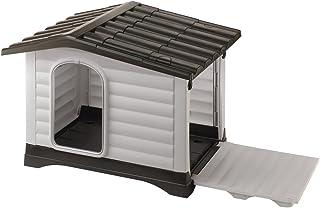 Ferplast 87257099 - Caseta de exterior para perros Dogvilla 110, panel lateral que se puede abrir, robusto plástico resistente a los golpes y a los rayos UV, rejilla de dentilación, 111 x 84 x 79 cm