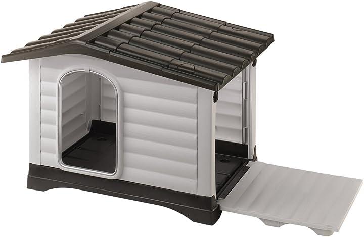 Cuccia da esterno per cani, in resina termoplastica, con parete laterale ribaltabile,111 x 84 x 79 cm ferplast 87257099