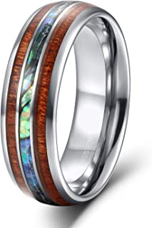 8mm Hawaiian Koa Wood and Abalone Shell Tungsten Carbide Rings Wedding Bands for Men Comfort Fit Size 6-13
