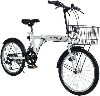 LUCK store 折りたたみ自転車 小径車 20インチ シマノ6段変速 カゴ・リアサスペンション付き ワイヤ錠・LEDライトのプレゼント付き 前後泥除け装備 ハンドルの高さ調節できる 折り畳み自転車 ミニベロ 5色デザイン