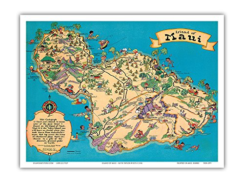 Amazon Com Island Of Maui Hawaii Vintage Pictorial Map By Ruth Taylor White C 1941 Master Art Print 9in X 12in Artwork Posters Prints