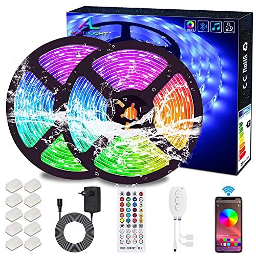 Tiras de LED Bluetooth, ALED LIGHT 5050 RGB 2x5 metros Luces de Tira LED 300 Banda de Luz Impermeable de LED Controlada por Control Remoto o Teléfono Inteligente para El hogar, Exteriores Decoración
