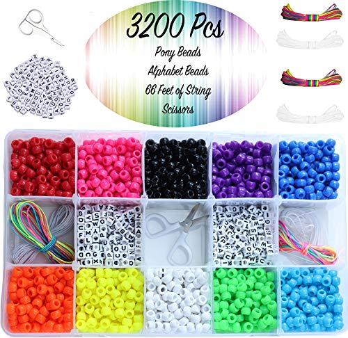 Pony Beads 9mm - 3200 Pcs Assorted Friendship Bracelet Making Kit - DIY Rainbow Bracelets Includes 10 Bead Colors, Multi Color Elastic String, Letter Beads, Scissors Set In Plastic Jewelry Storage Box