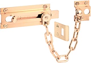 Defender Security U 9911 Chain Door Guard with Slide Bolt, Solid Brass Finish