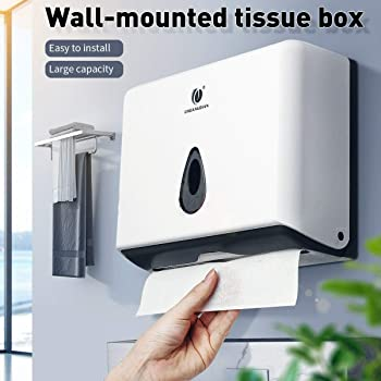 USLION Paper Towel Dispenser Wall-Mounted Blue C-Fold Paper Hand Towels Waterproof Toilet Tissue Dispenser 200 Sheets Folded Hand Towel Dispenser for Toilet Bathroom Kitchen Restaurant Office