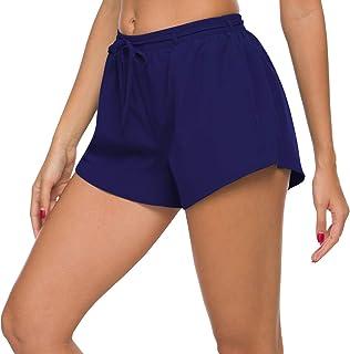 ChinFun Women's Quick Dry Board Shorts Stripe Swim Trunks Swimsuit Beach Shorts Side Pockets