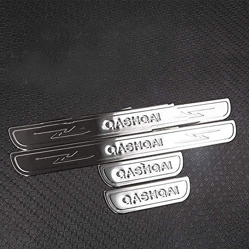 Gemmry 4PCS Edelstahl Einstiegsleisten Abdeckung für Nissan Qashqai J10 2007-2013, Türschweller Pedalabdeckung Abnutzungsplatte Zieraufkleber Styling Zubehör