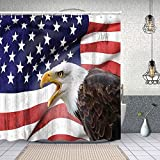 Cortina de Ducha Impermeable Águila en Primer Plano Bandera Orgullo Historia Solidaridad Identidad marcial Cortinas baño con Ganchos Lavable a Máquina 62x72 Inch