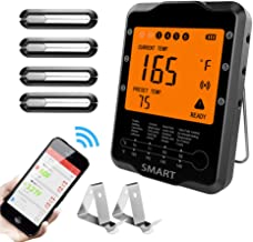 Meat Thermometer Wireless, Uzone BBQ Thermometer Smart Cooking Thermometer with 4 Probes, Instant Read Digital Food Meat Thermometer for Smoker Grilling Oven Kitchen, Support iOS & Android