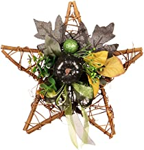 Zehui Trade Winter Front Door Decorative Wooden Frame Artificial Flowers Garland Wreath Hanging with Maple Leaf,Pumpkin, Pinecone, Rose for Halloween Festival Props Decor Star-Shaped