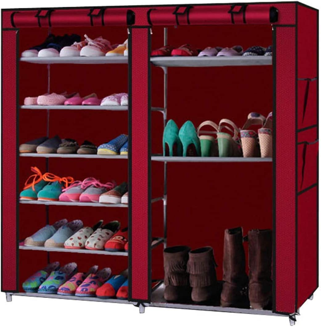 BRLUCKY Furniture Home Furnishing Plaza Double Rows 9 Lattices Combination Style Shoe Cabinet Wine Red Shoerack Storage Organizer (Color : Wine Red)