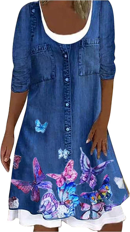 MINEMIN Imitation Denim Dress Women Long Sleeve Fashion Digital Printing Round Neck Medium Length Dresses