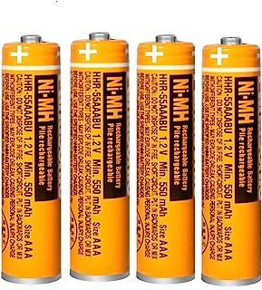 4 x Pilas Recargables AAA 550 mah 1.2v para Panasonic baterias Recargables NiMH para telefonos inalambricos