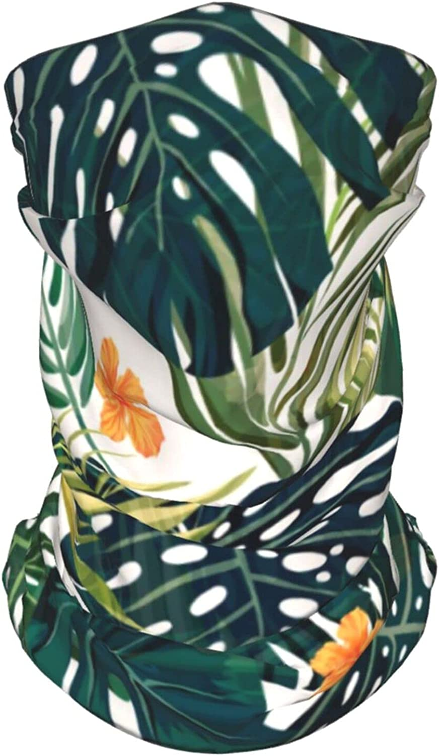 Palm Leaves with Flowers Neck Gaiter Multipurpose Headwear Ice Silk Mask Scarf Summer Cool Breathable Outdoor Sport 2 Pcs