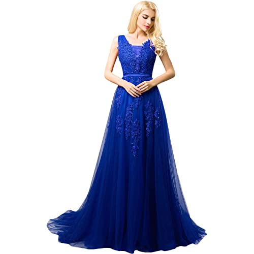 f6caef5c01e Huifany Women s V Neck Lace A-line Empire Long Formal Evening Dress Prom  Gown