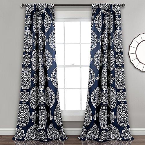 "Lush Decor Kamren Medallion Room Darkening Window Curtain Panel Pair, 84"" X 52"", Navy"