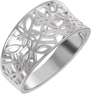 Sizes 4-15 Princess Kylie Sterling Silver Filigree Fleur De Lis Ring