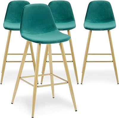 Menzzo Jody Lot de chaises, Velours, Vert, Taille Unique