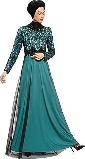 fc541eb8f78ff Turkish Muslim Modesty Evening Dress Long Sleeves Unlined Crew Neck