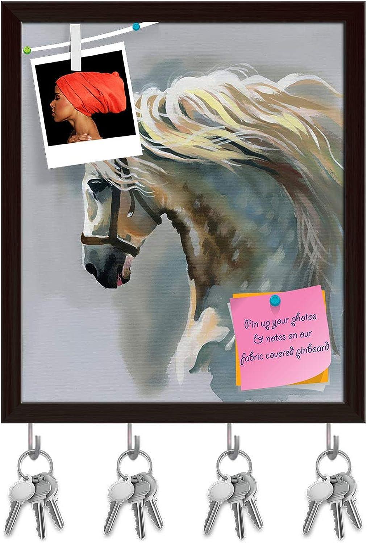 Artzfolio White Horse D3 Key Holder Hooks   Notice Pin Board   Dark Brown Frame 16 X 18.7Inch