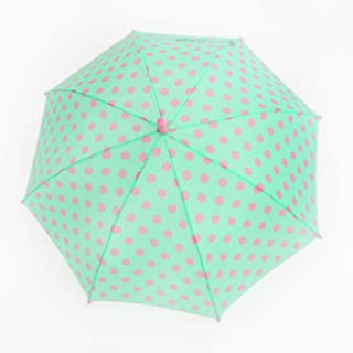 Children's Umbrella Polyester Cloth Waterproof Umbrella Princess Style Point Sun Umbrella Long Handle Huhero (Color : Green)