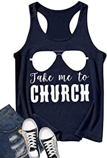 Take Me to Church Tank for Women Cute Graphic Funny Letter Print Country Music Casual Sleeveless Tops Vest