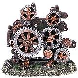 Balacoo Decoraciones de Peceras Artificiales- Engranaje de Resina Robot Perro Acuario Ornamental Grutas Acuáticas Ocultar Refugio para Camarones Betta Accesorios de Peces