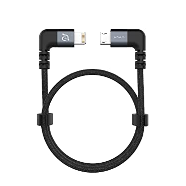 ADAM elements Peak II Fleet USB A to Lightning Cable, 90 Degree L Connector for DJI Mavic & Phantom Controller, Nylon Braided Cable, MFi Certified