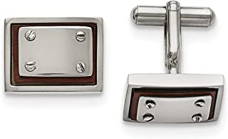Black Bow Jewelry Men's Stainless Steel and Wood Inlay 20mm Rectangular Cuff Links