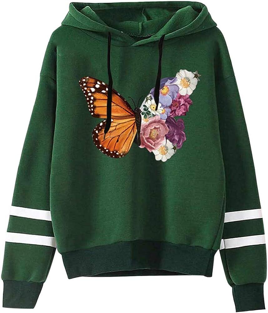 YIKEYO Felpe Tumblr Ragazza Donna Felpe con Cappuccio e Coulisse Farfalla e Fiore Stampa Sportivo Hoodie Streetwear Sweatshirt Casual Abbigliamento Autunno Invernale 2020