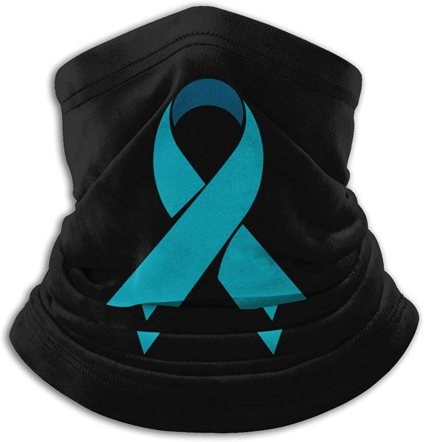 Ovarian cancer blue green ribbon unisex winter neck gaiter face cover mask, windproof balaclava scarf for fishing, running & hiking