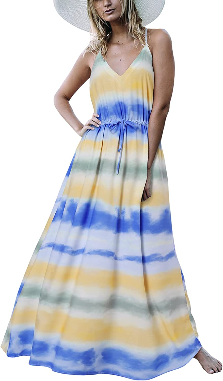Auxo Ranking TOP5 Women Summer Bohemian Floral Print sold out Maxi Sleeveless Dress Ca