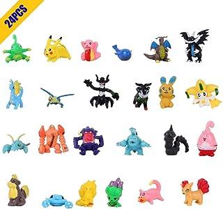 OMZGXGOD Pokemon Figuras ,Mini Figuras de plástico tamaño pequeño Regalo,La Figura de Pokémon Incluye a Pikachu, Charmander, Squirtle, niños(24Piezas) (24)