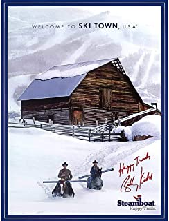 Steamboat Barn Happy Trails Colorado Ski Poster Signed by Billy Kidd, 18 x 24 inches