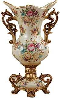 ZR-DECOR European-Style Retro Resin Large Vase for Living Dining Room Table Centerpiece Bedroom Office Hotel Home Decoration Hand-Painted Tall Flower Vases, Beige (42×26cm