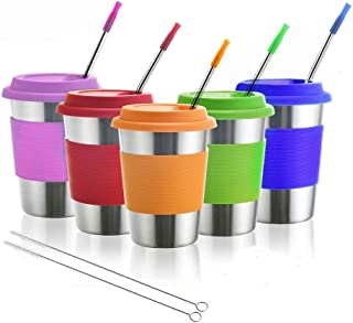 Kids Stainless Steel Cups, Metal Drinking Glasses with Silicone Lids &Sleeves& Straws, Perfect for Indoor and Outdoor Acti...