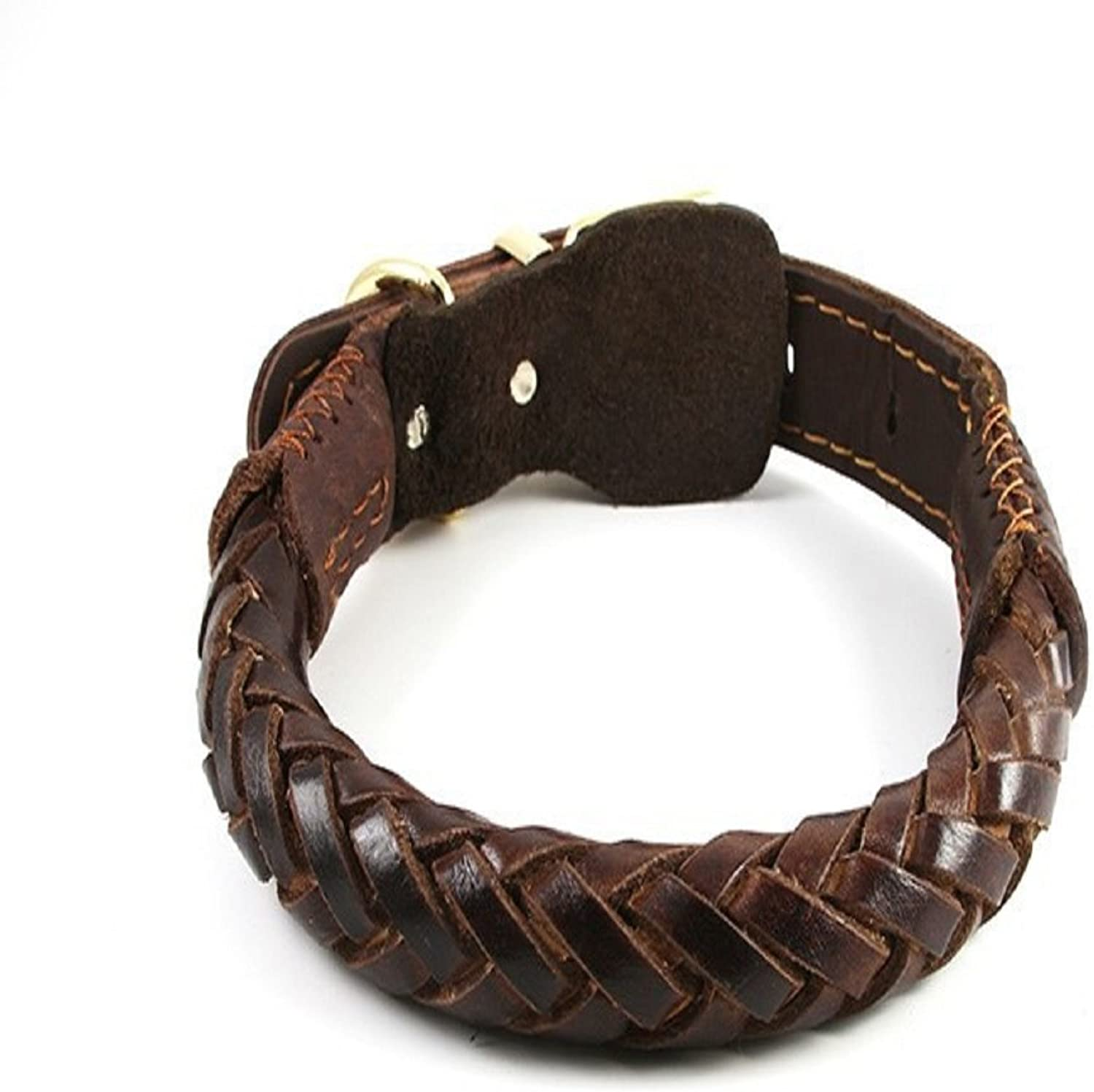 Jpettie Heavy Duty Real Leather Dog Collar Hand Made Pet Training Collar for Medium and Large Dogs (Dark Brown)