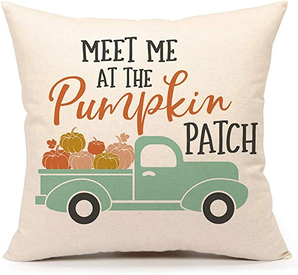 4TH Emotion Fall Pumpkin Truck Throw Pillow Cover Autumn Quotes Cushion Case For Sofa Couch 18 X 18 Inch Cotton Linen Patch
