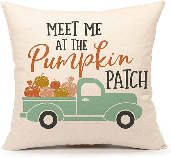 第四情感秋季南瓜卡车抱枕套秋季报价沙发靠垫套 18x18 英寸棉麻补丁